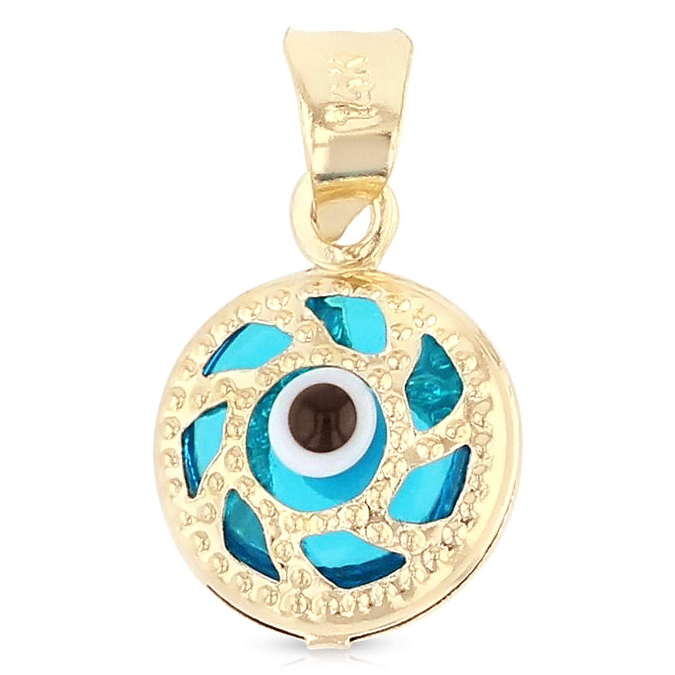 14K Yellow Gold Evil Eye Charm Pendant For Necklace or Chain