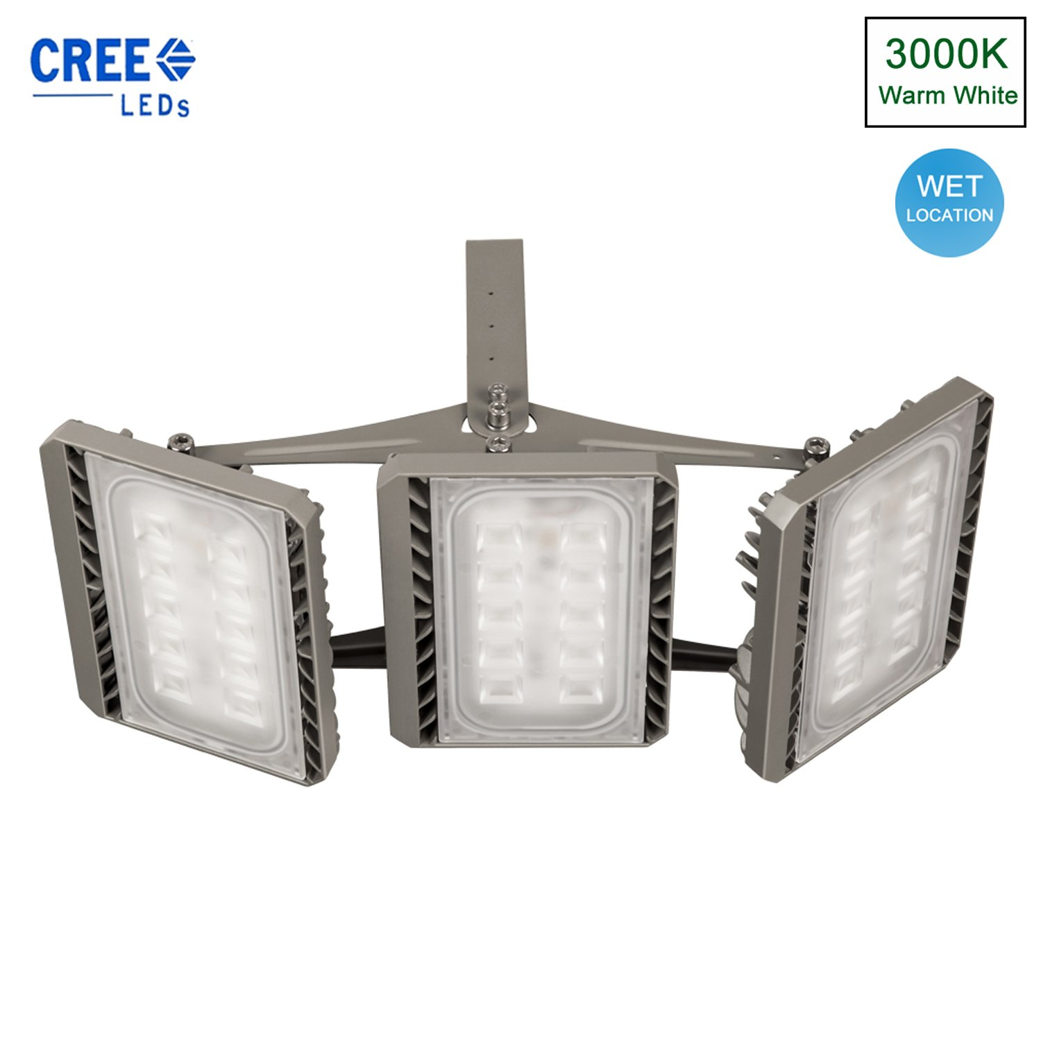 Stasun LED Flood Light Outdoor, 150W Super Bright LED Security Lights, Cree LED Source, 13500lm, 450W Equivalent, 3000K Warm White, Adjustable Heads, Wide Angle Waterproof Floodlight
