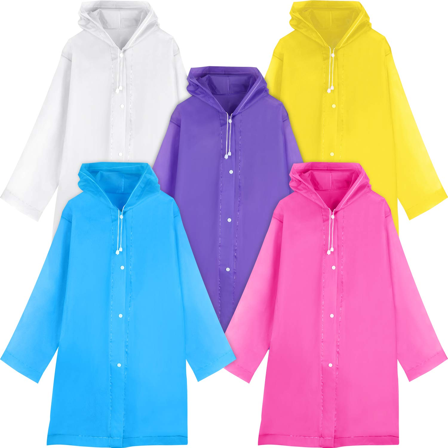 Syhood 5 Pieces Children Rain Poncho Portable Reusable Raincoats Rain Jacket for Outdoor Activities, for Kids 6-12 Year Old by Syhood