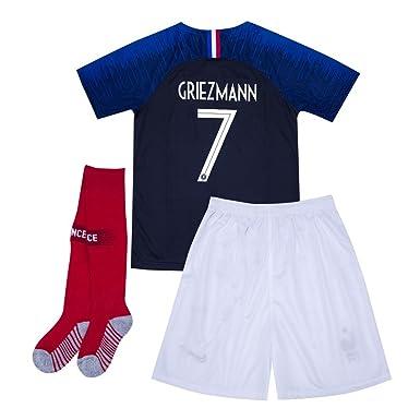 c2a2eacbdd7 Griezmann  7 France 2018 World Cup Kids Soccer Jersey Matching  Shorts