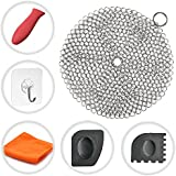 Cast Iron Cleaner Cosmer XL 7x7 inch Premium Stainless Steel Chainmail Scrubber With Bonus Silicone Hot Handle Holder + Pan Scraper + Grill Scraper + Kitchen Towel + Wall Hook (Round)