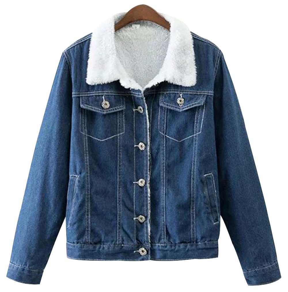 Trendy XU Women Dark Blue Short Style Sherpa Lined Jean Coat Button Denim Jacket (S)