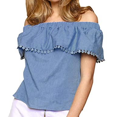 Damen Schulterfrei Blusen Sommer Strand Langarm T-Shirt Oberteile Blusenshirt 40