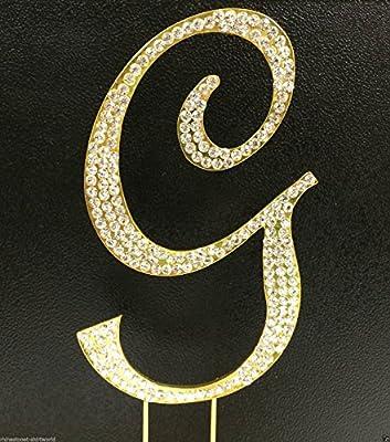 Crystal Rhinestone Covered Gold Monogram Wedding Cake Topper Letter G