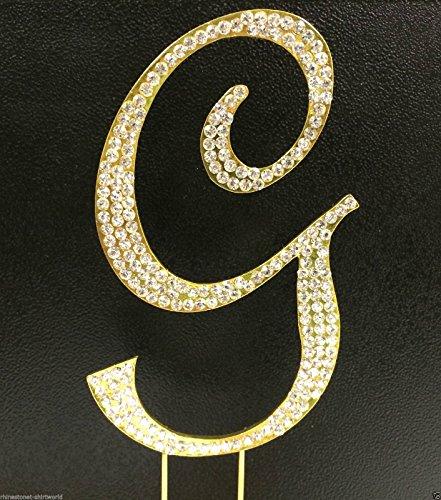(Crystal Rhinestone Covered Gold Monogram Wedding Cake Topper Letter)