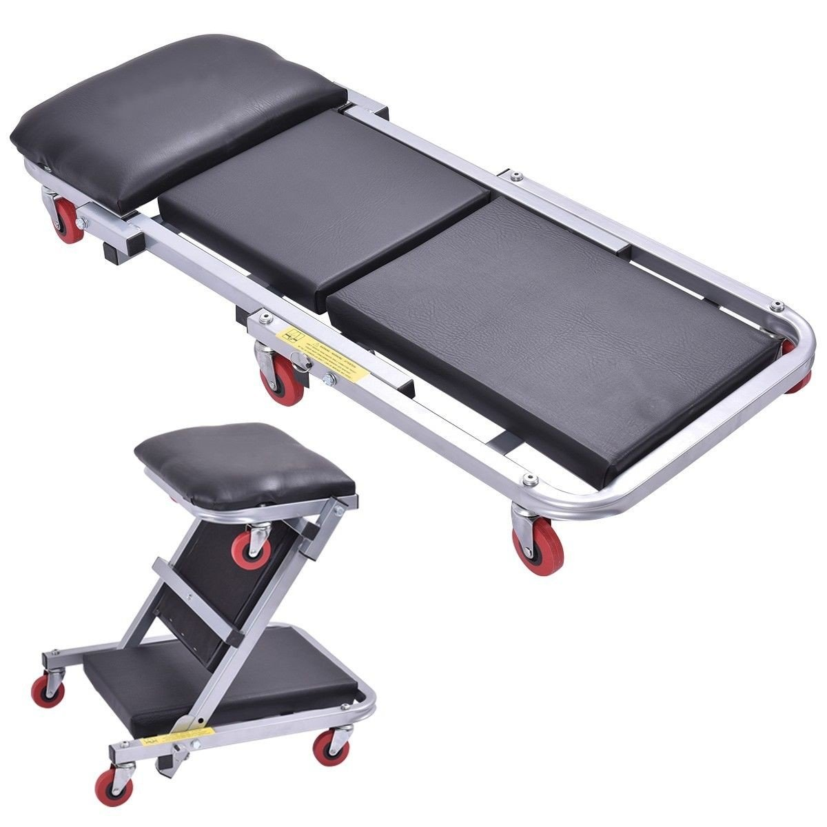 40'' 2 In 1 Foldable Mechanics Z Creeper Seat Rolling Chair Garage Work Stool - By Choice Products