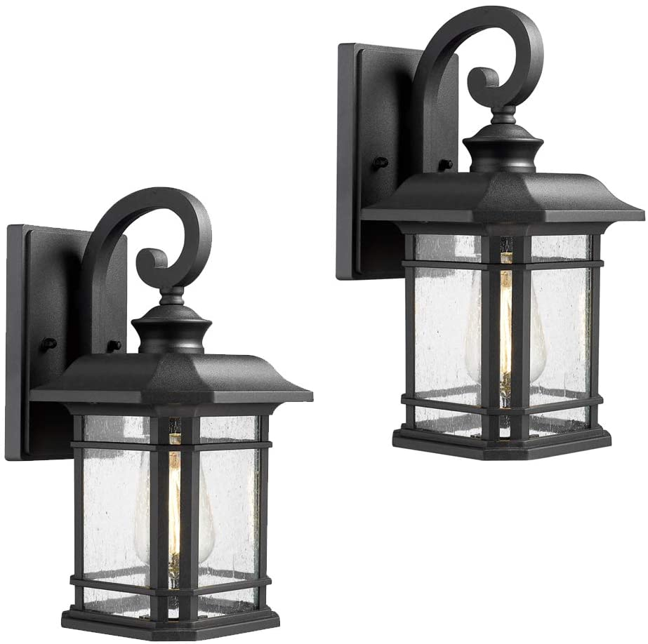 Emliviar Outdoor Wall Lanterns 2 Pack 1 Light Exterior Wall Mount Light Black Finish With Clear Seedy Glass 2084b 2 Bk