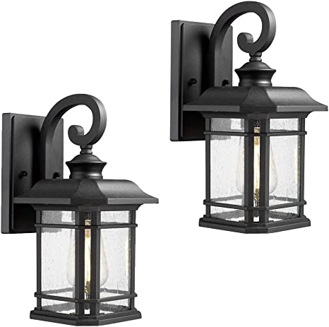 Emliviar Outdoor Wall Lanterns 2 Pack 1 Light Exterior Wall Mount Light Black Finish With Clear Seedy Glass 2084b 2 Bk Amazon Com