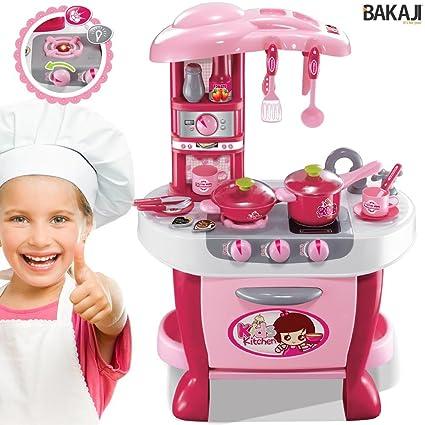 BAKAJI Cucina per Bambine Giocattolo 31 Accessori con Stoviglie Luci e  Suoni Altezza 70 cm, Pentole e Padelle, Posate, Fornellino, Barattoli (Rosa)