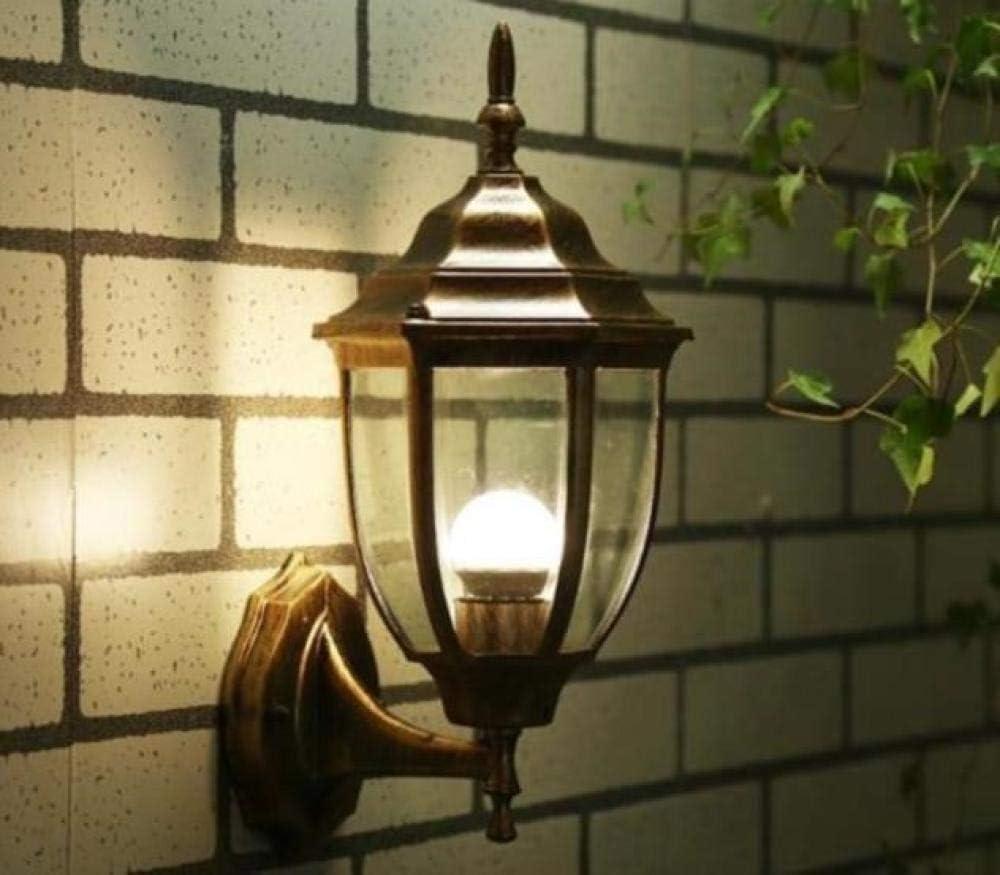 Lámpara de pared antigua para exteriores de estilo europeo Puerta iluminada de aluminio accesorios de búsqueda de hierro forjado pasarela gazebo cafe @ Bronze