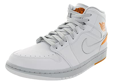 Nike Men's Jordan 1 Retro '86 White/Kumquat/Pure Platinum Basketball Shoe  9.5