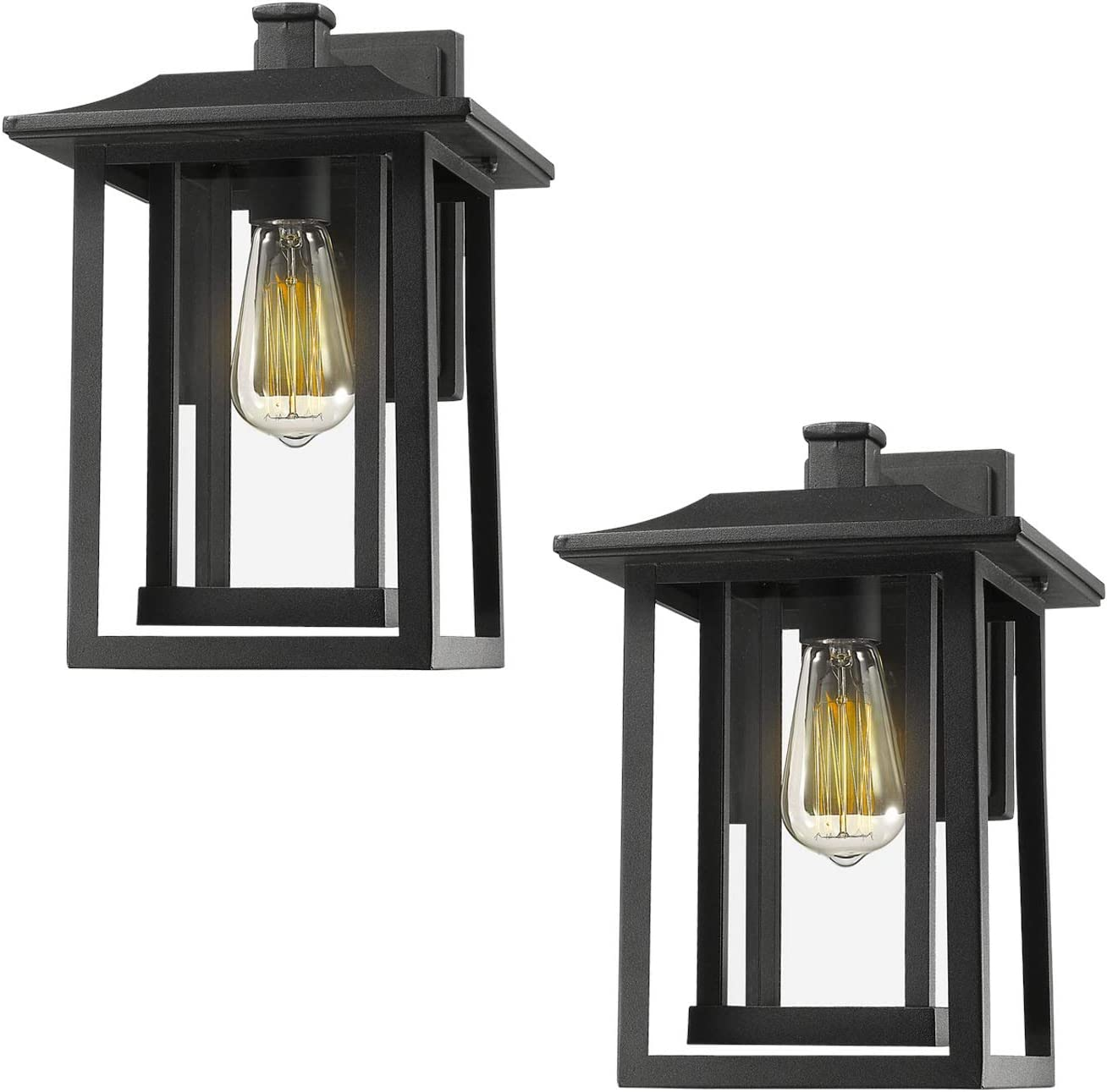 Amazon Com Beionxii Outdoor Wall Lights Set Of 2 Exterior Light Fixtures Wall Mount Sconces Sand Textured Black With Clear Glass 9 W X 13 5 H A197w 2pk Home Improvement