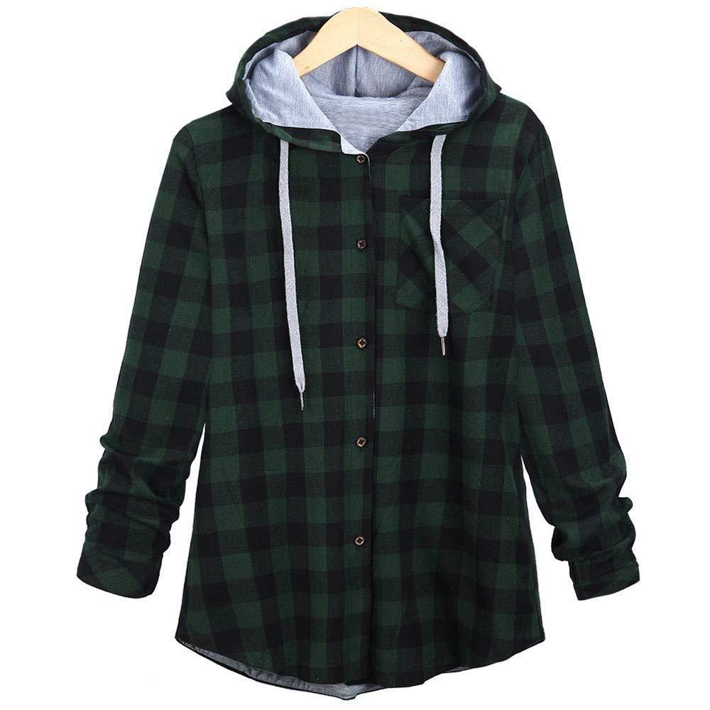 Triskye Womens Hooded Winter Warm Sweatshirt Plaid Color Block Shirt Top Ladies Lightweight Jacket with Kangaroo Pockets Triskye/_Women Coats