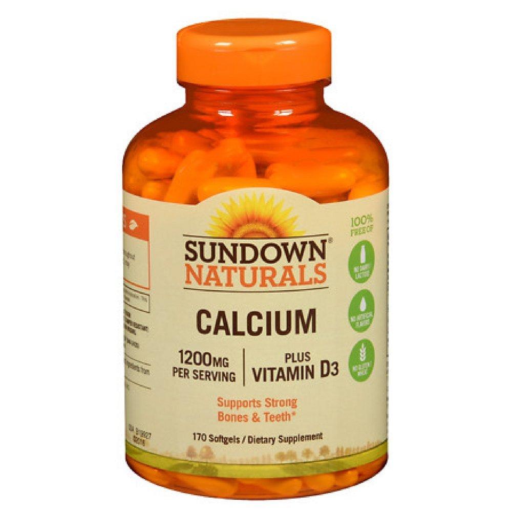Sundown Naturals Calcium plus Vitamin D3, 1200mg, Softgels 170 ea (Pack of 12)