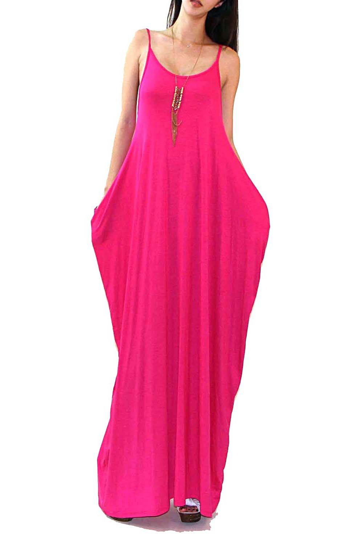 eb9dcf3c70 Vivicastle Batwing Oversized Loose Plain Summer Sleeveless Pocket Long Maxi  Dress