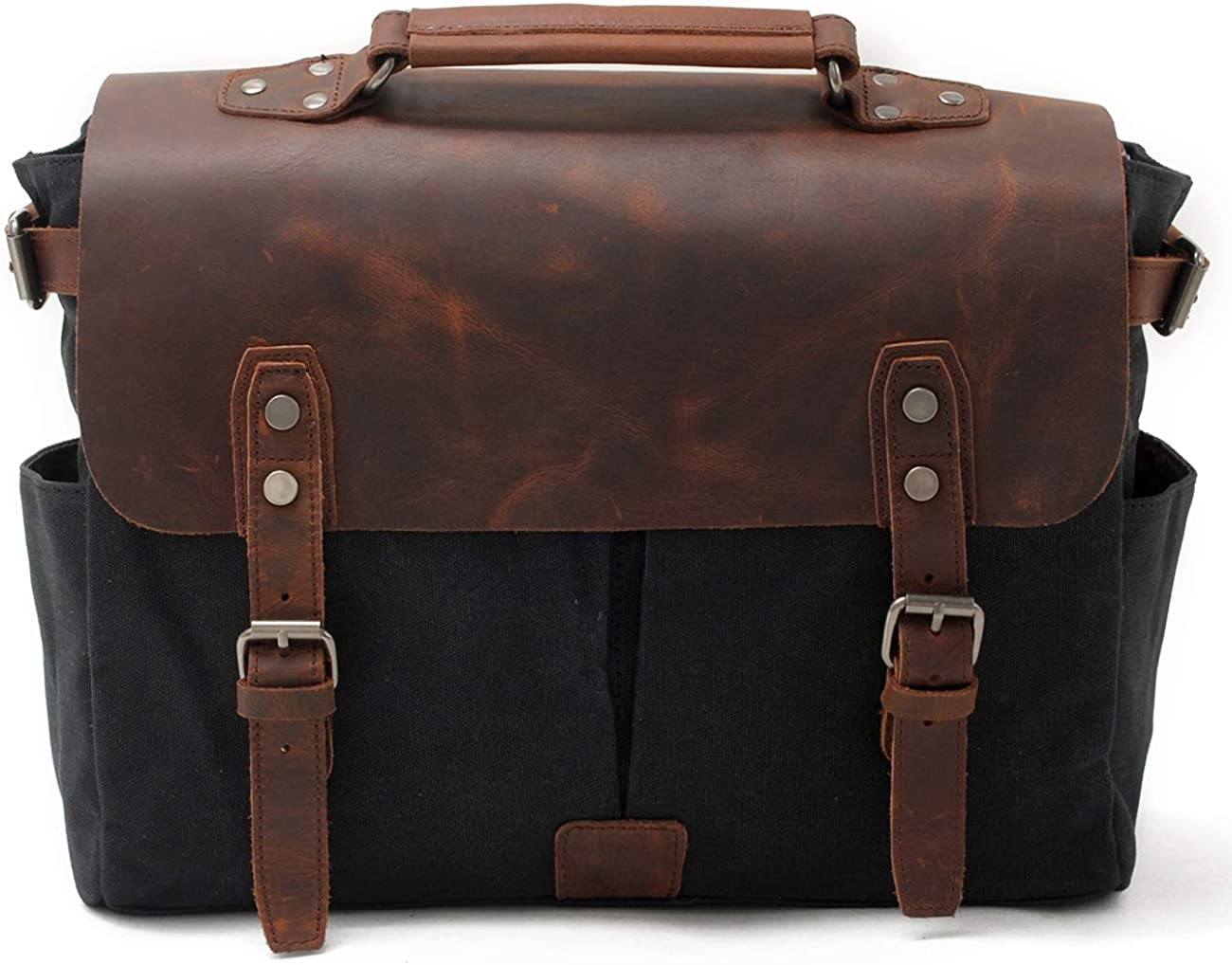 SUVOM Men Messenger Bag Waxed Canvas Satchel PU Briefcase for 14 Inch Laptop
