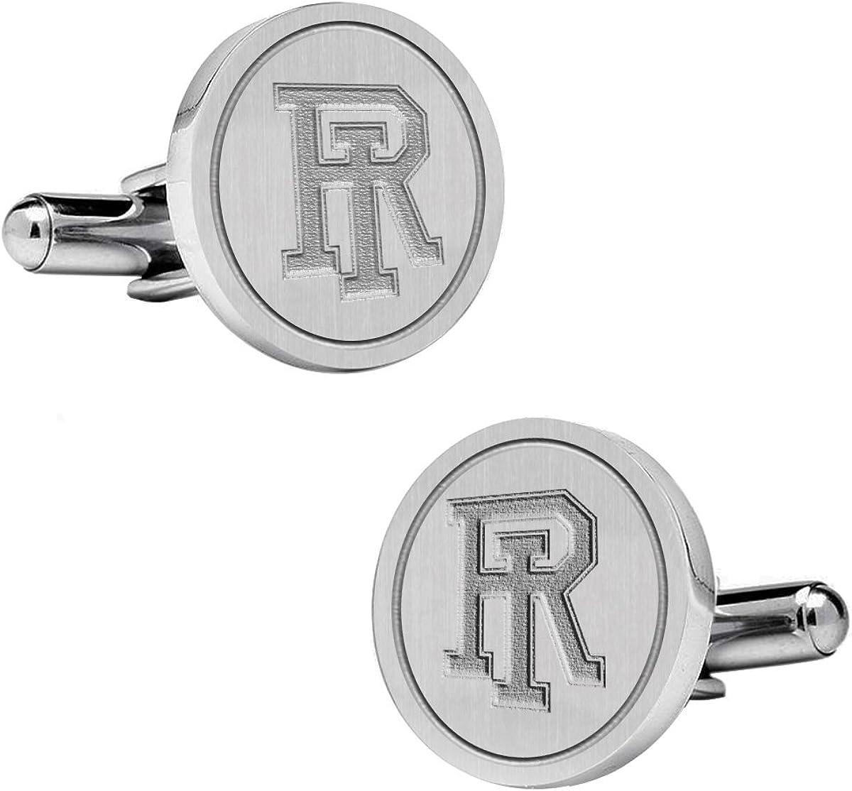 Natural Finish Sterling Silver Round Top Cufflinks College Jewelry University of Rhode Island Rams Cufflinks