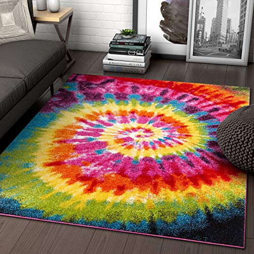 Tie Dye Retro Rainbow Trippy Multi Hippie Red Orange Yellow Green Modern Painting 5x7 (5'3