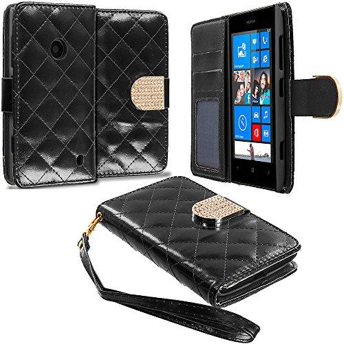 Black Wallet Luxury Diamond Pattern Design Case for Nokia Lumia 520