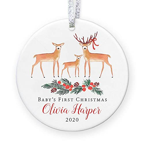 Personalized Baby Girl/'s 1st Christmas Baby Fawn Ornament