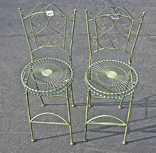 Set of 2 Pub Folding Chairs Antique Green Finish Iron