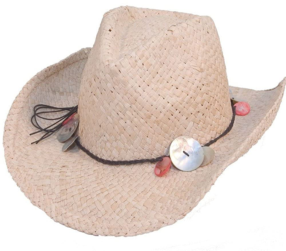 Vintage Womens Straw Shell Band Shapeable Cowboy Cowgirl Hat