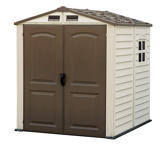 Terrific Duramax Storemate 6 X 6 Plastic Garden Shed With Plastic Floor Fixed Window Ivory Brown 15 Years Warranty Pdpeps Interior Chair Design Pdpepsorg