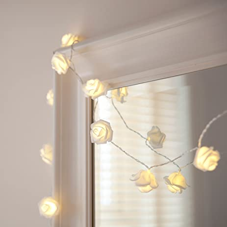 Amazon.com: [Built in Auto Timer] 20LED Warm White Rose Flower ...