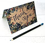 Thank You Cards Multi-Pack Blue Forget-me-not Floral Thanks Cards, Little Note, just a Note, A6 Cards and envelopes (20)