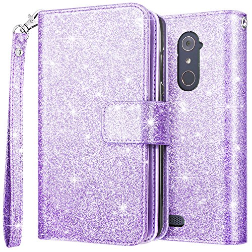 ZTE Zmax Pro Case,ZTE Zmax Pro Wallet Case,Fingic Luxury Shiny Flip Folio Case Nickel Plated Press Stud [Cash Holder] [Wrist Strap] [Magnetic Snap Closure]Protective Case for ZTE Zmax Pro Case,Purple ()