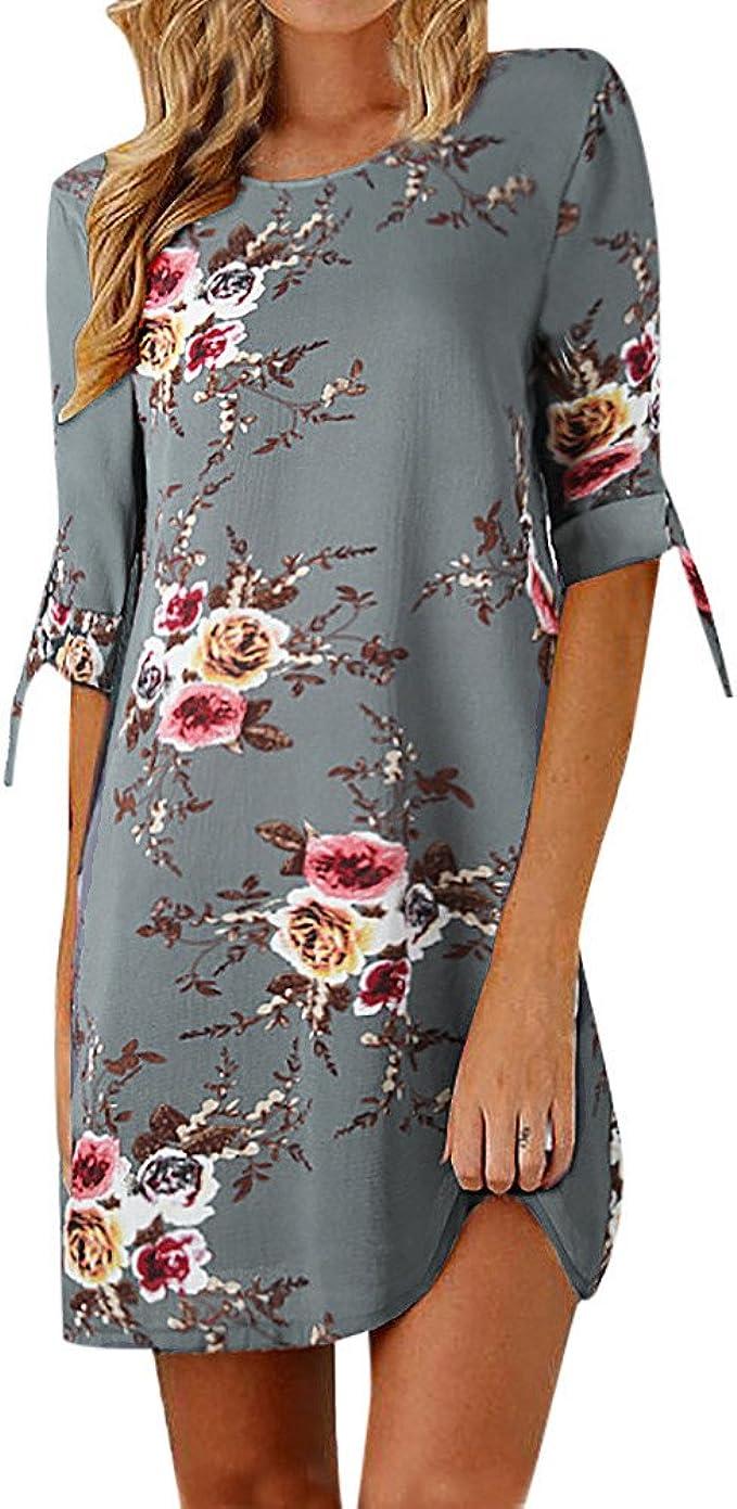 DE Damen Blumen Knielang Freizeitkleid Casual Minikleid Slim Kurzarm Sommerkleid