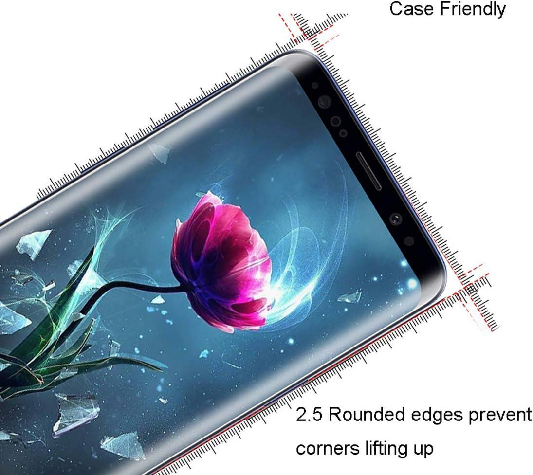Protection /écran pour Samsung S9 Anti-Empreintes Prot/ége /écran Samsung Galaxy S9 Anti Rayures XSWO Verre Tremp/é Galaxy S9 3D Couverture Compl/ète 2 Pi/èces Coque Compatible Haute Sensibilit/é