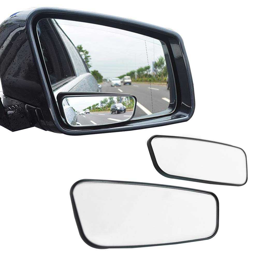 Folconauto A Pair of Adjustable Square HD Glass Frameless Convex Rear View Mirror Blind Spot Mirror For Universal Car Fit