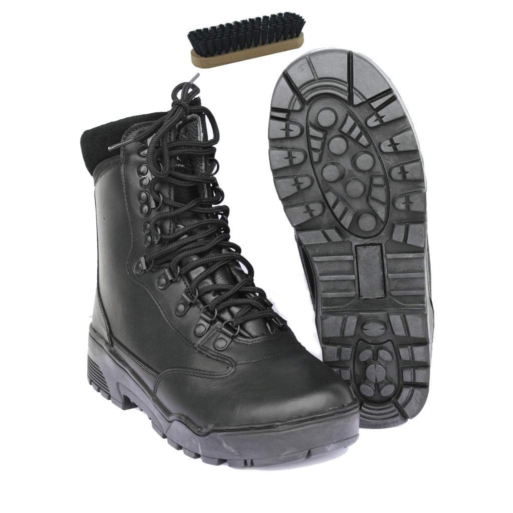 Tactical Stiefel LEDER Swat Stiefel Security Einsatzstiefel 41-47 + Schuhbürste