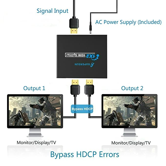 ... HDMI HDCP Bypass Splitter One Input to Two Outputs HDMI Amplifier 1X2 HDMI Splitter 4k, for Xbox One PS4 PS3 Blu-ray Player Cable Box Satellite ...
