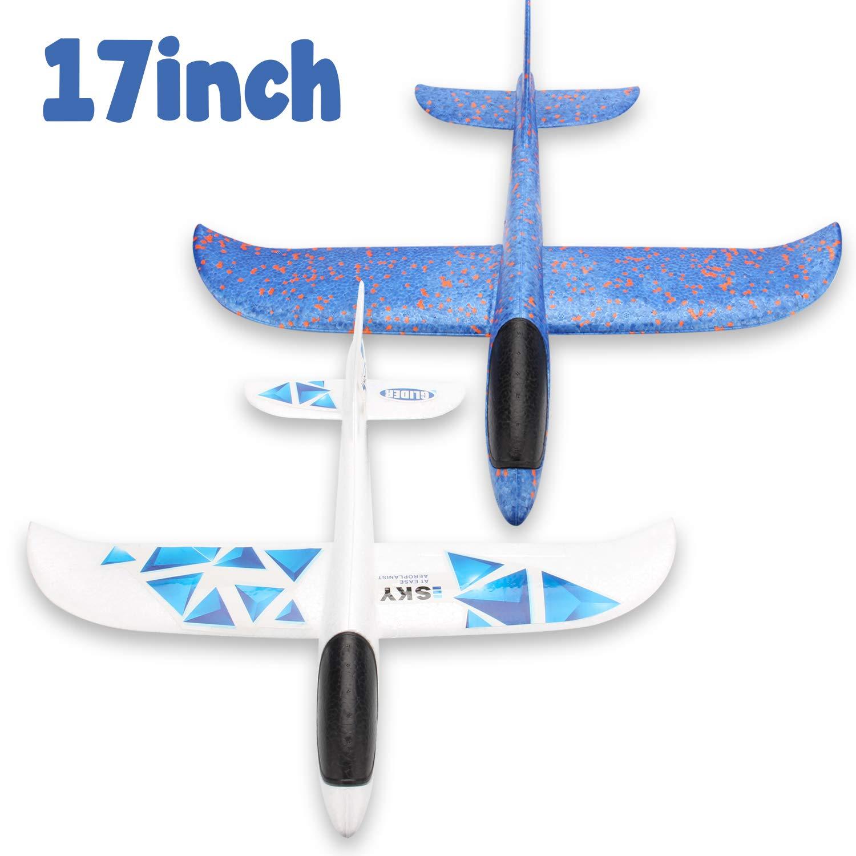 WATINC 2Pcs 17in Airplane, manual throwing, fun, challenging, outdoor sports toy, model foam airplane, blue & white airplane (WT-Foam Airplane 2Pcs)