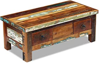 SENLUOWX Tavolo da Salotto con cassetti Legno massello Riciclato 90x 45x 35cm