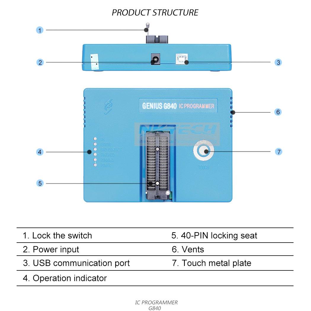 nktech G840 Universal BIOS Gal USB lote programador de EPROM FLASH ...