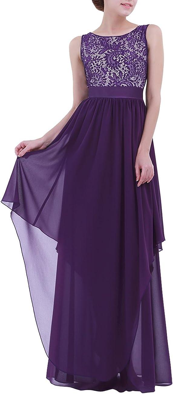 YiZYiF Women's Elegant Sleeveless V-Back Black Lace Bridesmaid Maxi Long Dress