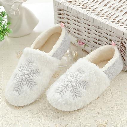 Pantofole Invernali di Cotone per Donna - Antiscivolo Scarpe Chiuse  Ciabatte Fiocco di Neve Natale Interno ed2f8b14921