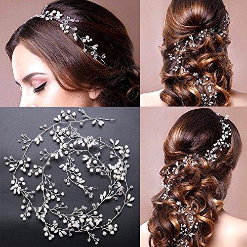g Hair Vine, Womens Crystal Headband Hair Barrettes for Bride/1M Girls Hair Decoration Accessories Wear Clips Jewelry Headpiece for Bridesmaid ()