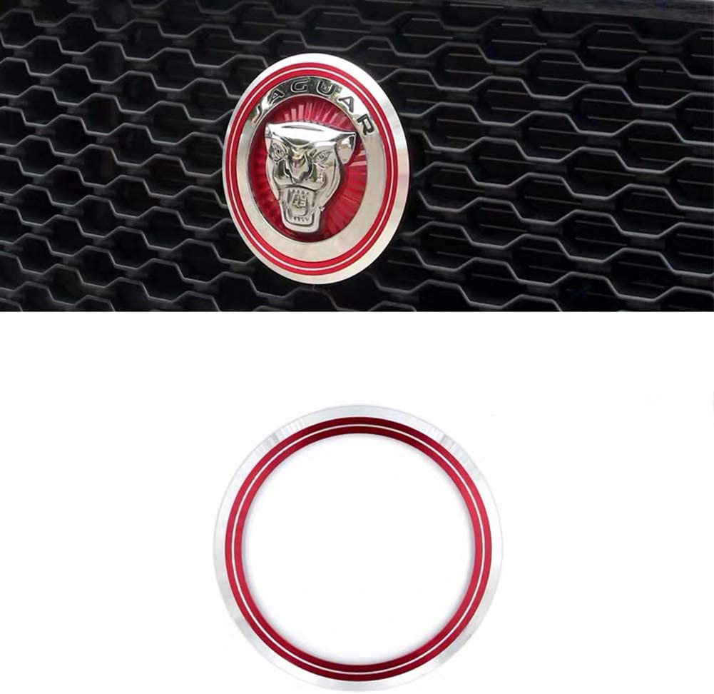 MAXDOOL Aluminum Surrounding Decoration Ring Trim Compatible With Jaguar F-Pace XE XF XJ Front Grille Feline Emblem Stickers Red