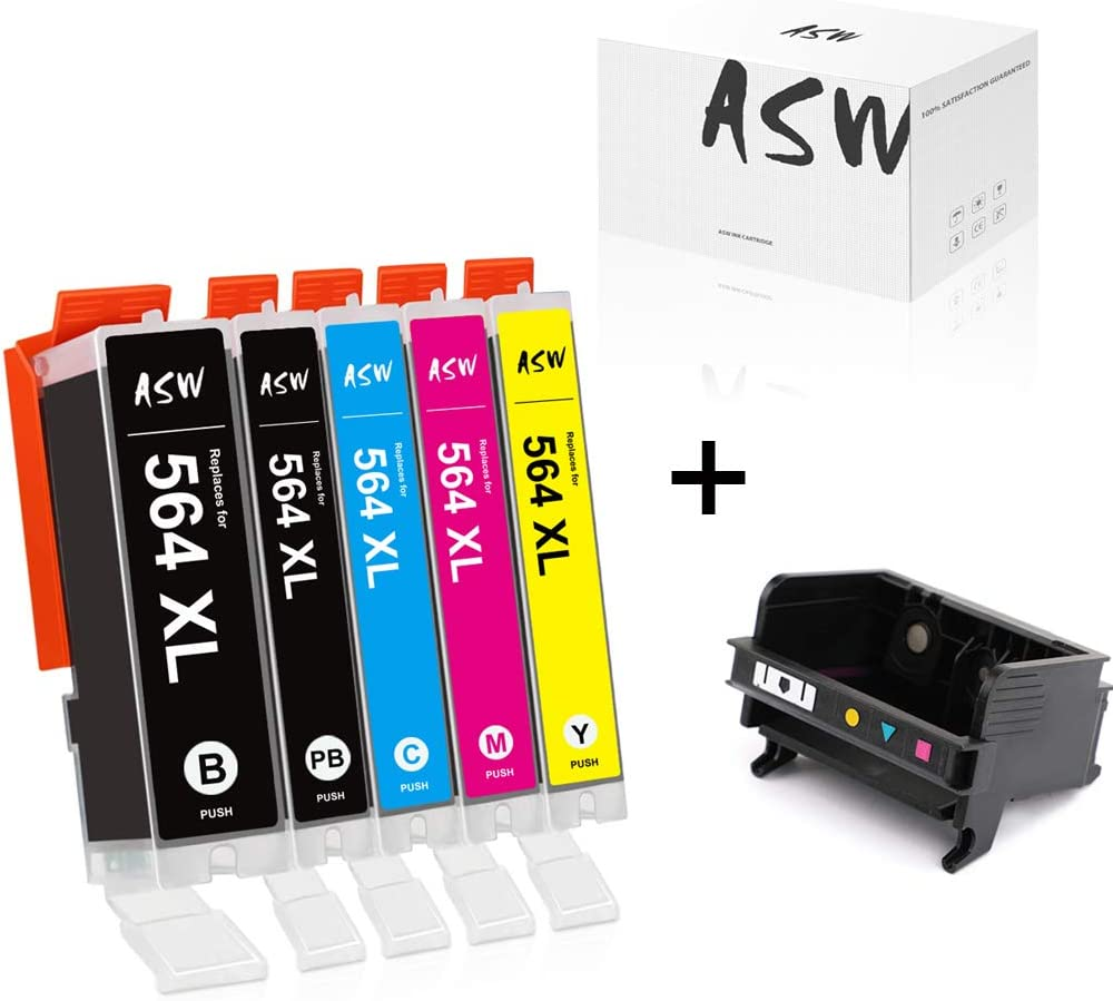 ASW Compatible Ink Cartridge Replacement for HP 564XL 564 XL Used for Officejet 4610 4620 7510 Photosmart 5510 5514 (5 Pack) & 5 Slot 564XL CB326-30002 CN642A Printhead (1 Pack)