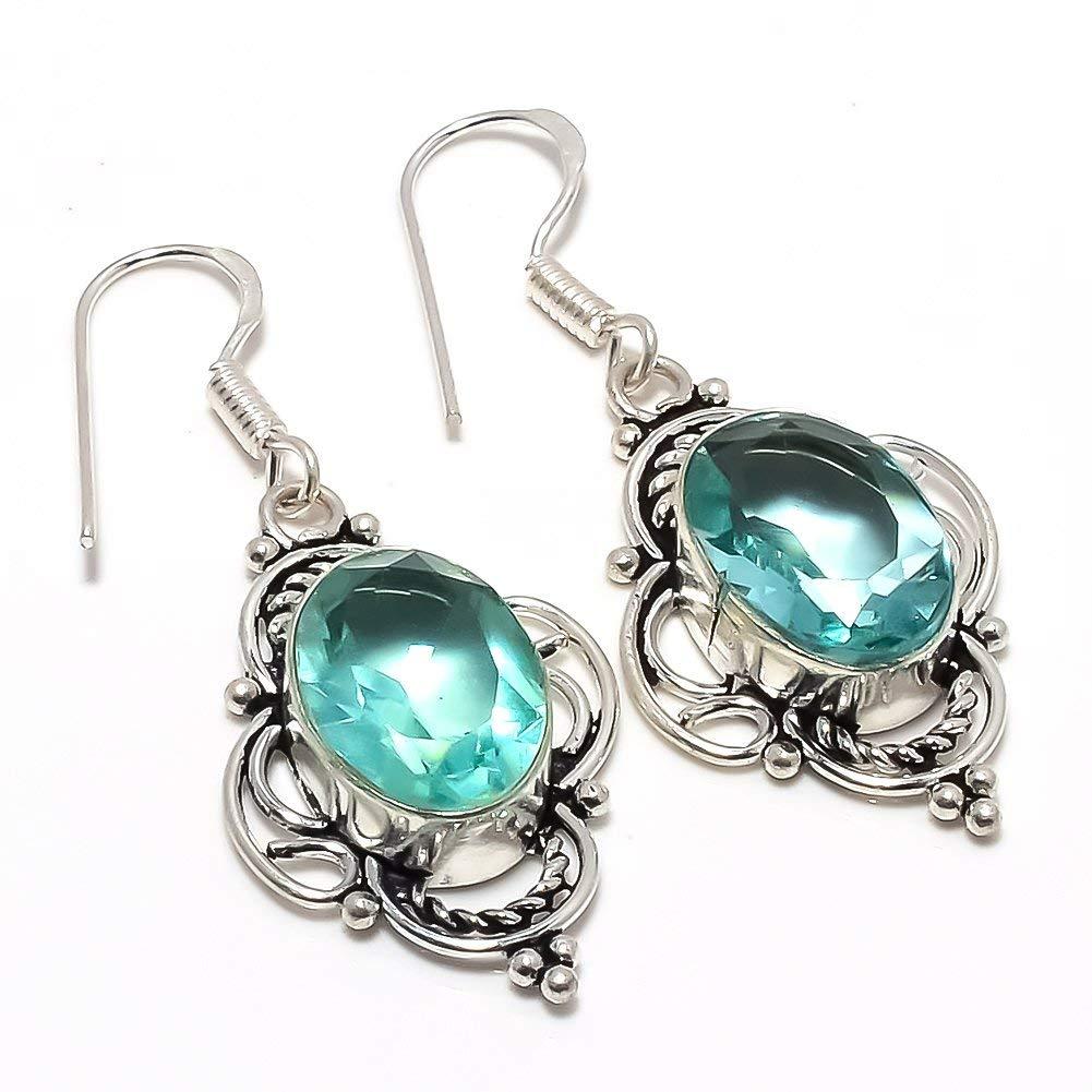 Handmade Jewellry Desinger Blue Topaz Quartz Silver Plated 8 Grams Earring 1.5 Long
