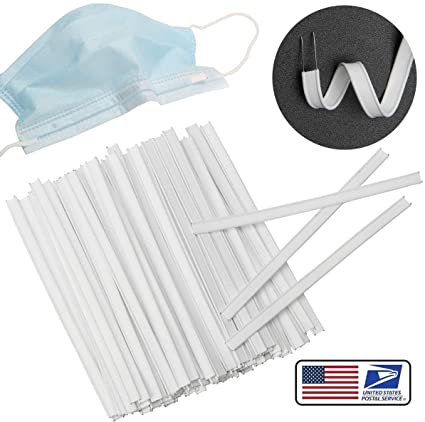4in Flat Nose Mask Wire Clips Plastic Strips Straps for Face DIY Making Handmade Crafting 200PCS Double Wire Nose Bridge Strips Plastic Nose Wire for Mask