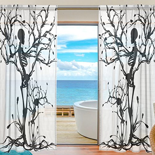 SEULIFE Window Sheer Curtain Tree of Life Skull Voile Curtain Drapes for Door Kitchen Living Room Bedroom 55x78 inches 2 Panels by SEULIFE