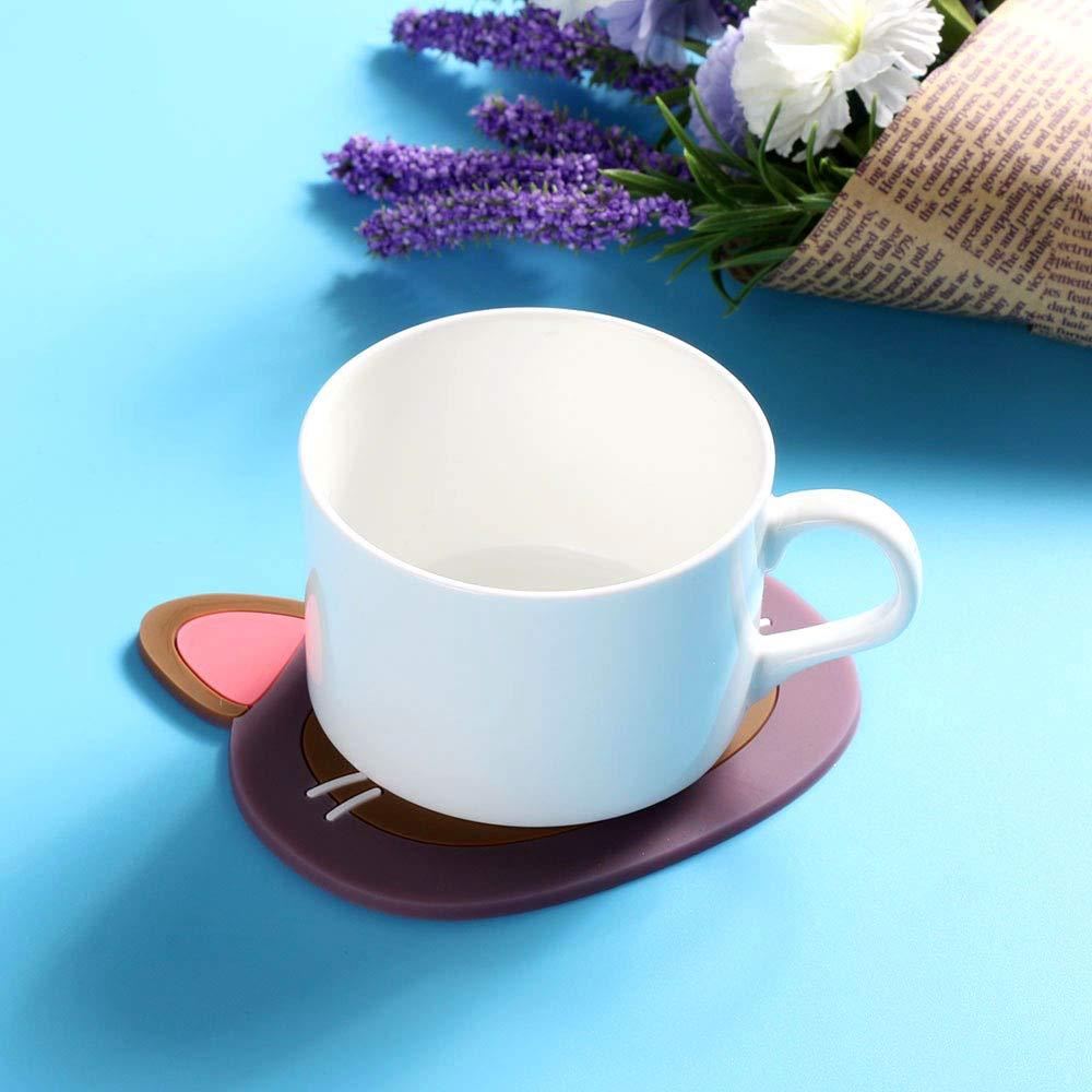 Contever Lot de 6 Dessous de Tasse en Silicone Mignon Chat Coaster Mat Anti-D/érapant boissons Tasse Pad Tapis de Set de table de cuisine salle /à manger