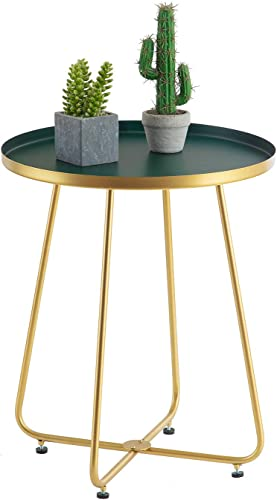 HuiDao Round Side Table Metal End Table Tray Table Coffee Table for Living Room Bedroom Office Patio Yard Balcony, 21 H x 18 D Gold Dark Green