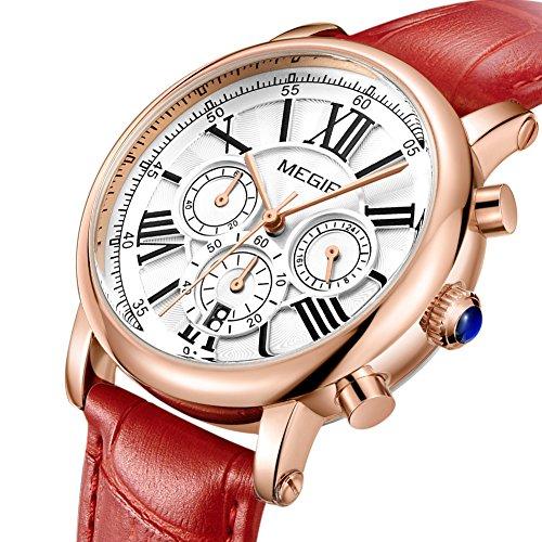 MEGIR Watches for Women Quartz Sport Chronograph Red Leather Strap Stylish Dress Wrist Watch by MEGIR (Image #1)