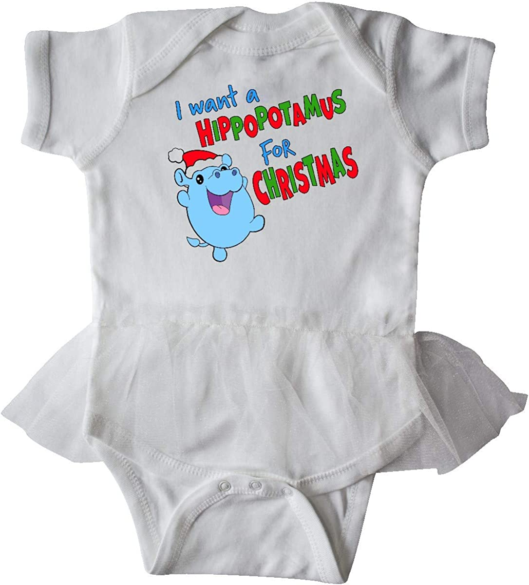 inktastic I Want a Hippopotamus for Christmas Cute Stuffed Infant Tutu Bodysuit